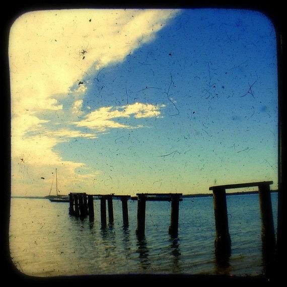 Beach Photography Print 5x5 TtV Coastal Photo - Wooden Pier - Jetty - Rustic Nautical Home Decor