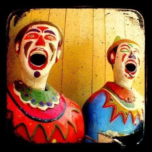 Clown Photo Print 5x5 TtV Carnival Photography - Retro Kitsch Vintage Style - Mustard - Red - Blue - Green