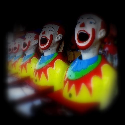 Carnival Photography 5x5 TtV Clowns Photo - Childhood Nostagia - Fun at the Fair - Home Decor Photograph
