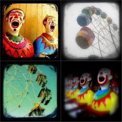 Carnival Photo Set of Four 5x5 TtV Photography Prints - Clowns, Ferris Wheels, Nursery Decor, Vintage Style Photographs